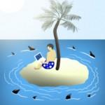 Shark-circling-island